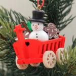 オーナメント おもちゃの荷車 雪だるま
