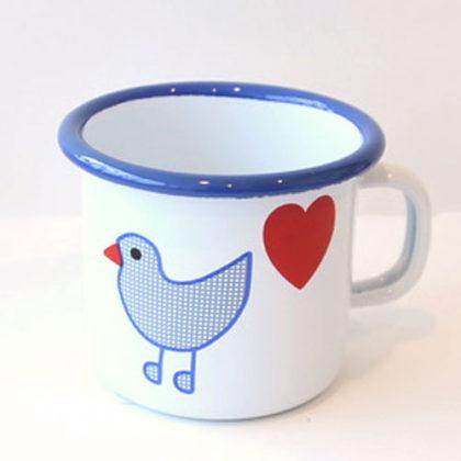 青い鳥 ホーロー マグカップ
