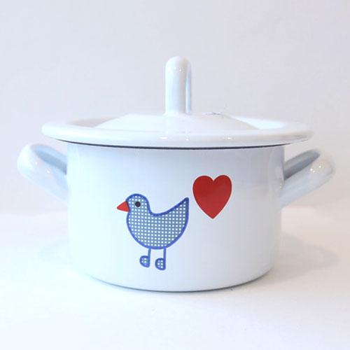青い鳥 ホーロー両手鍋(小)