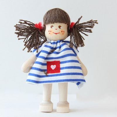 クレーブス人形 女の子青ボーダー