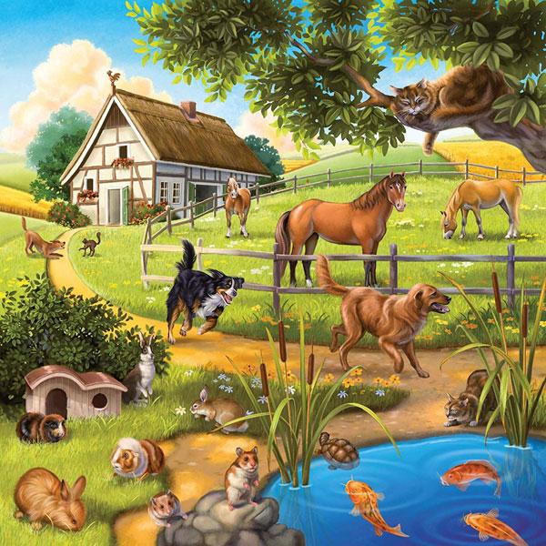 木組みの家と牧場